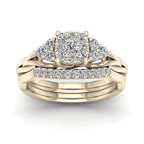 Anello di fidanzamento con diamante da 0,62 carati (ctw) in vero oro da 10 k (i2-clarity-h-i-color) e 10 ct oro giallo, 18,5, cod. hr-rb13936-8.5-y