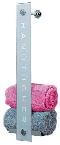 DUSCHMEISTER Handtuchhalter DMHT08 praktisches Design mit Aufbewahrung für bis zu 8 Handtücher Handtuchstange Handtuchhaken Regal Handtuchregal aus Glas mit Edelstahlablage
