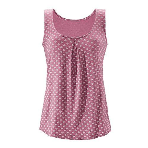 kolila Damen Top Ärmellos Sommer Oberteil Tank Top mit Allover-Minimal Print Lässiges Baumwolle Shirt Basic Tee (2019 Minimal Halloween)