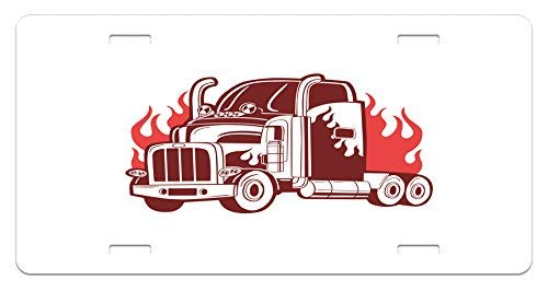 ZTLKFL Truck License Plate by, 18 Wheeler Silhouette on Fire Monochrome Transportation Theme Retro Sketch Style, High Gloss Aluminum Novelty Plate, 5.88 L X 11.88 W Inches, Coral Burgundy