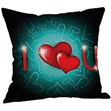 Doingshop-Pillow Cases Funda de cojín Negra para el día de San Valentín con Texto
