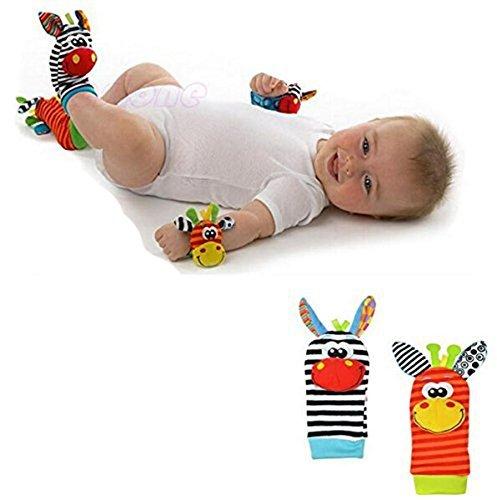 (Cartoon Baby Glocken Füße Baumwolle Socken Paar und Baby Rasseln ein Paar Handgelenk (rot Mund und Gelb Mund je eine))
