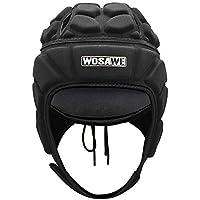 WOSAWE Protección de Casco Ajustable Portero de Cabeza para Fútbol Americano Rugby Deportes (con Visera M)
