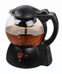 Team Kalorik Tee-und Kaffeebereiter, 1 l Fassungsvermögen, Runde Glaskanne, 600 W, Schwarz, TKG TKB 1023 N