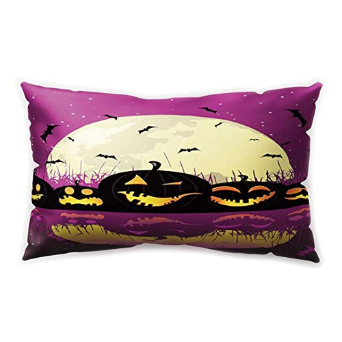 ty Rectangle Cushion Cover Pumpkin Lantern Cartoon Bat Castle Printing Double-Sided Soft Plush Pillowcase 50.8cm x 76.2cm(20IN x 30IN) ()