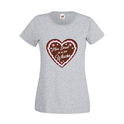 Oktoberfest T-Shirt für Damen mit Motiv -Mein Dirndl ist in der Wäsche- Frauen Tracht Hellgrau XL
