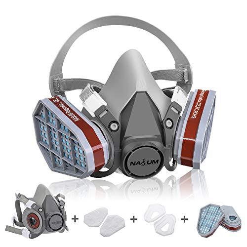NASUM Respirateur de Protection Kit de Masque avec 2 Filtres/2 Boîtes/2 Cotons Filtrants, Réutilisable Anti-Poussière/Particule/Vapeur/Gaz, pour Pulvérisation/Peinture/Industrie/Agriculture Gris Foncé