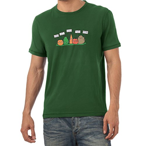 Texlab Angry Plants - Herren T-Shirt, Größe L, Flaschengrün