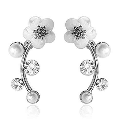 Fashion Woman Silver Dangle Shell Pearl Flower Ear Vine Wrap Pin Sweep up Ear Cuffs Climber Clip Earrings by Tutu