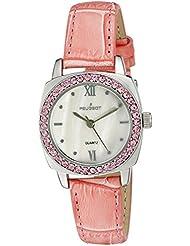 Reloj de las mujeres de cristal de oro bisel redondo de color rosa correa de cuero reloj de pulsera para mujer