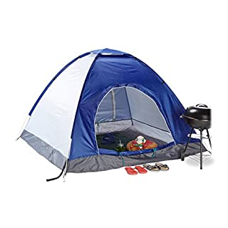 Relaxdays Pop-Up Camping Tent, H x W x D: 135 x 200 x 200 cm, Waterproof Instant Tent, Small, Compact, UV 50+, Blue