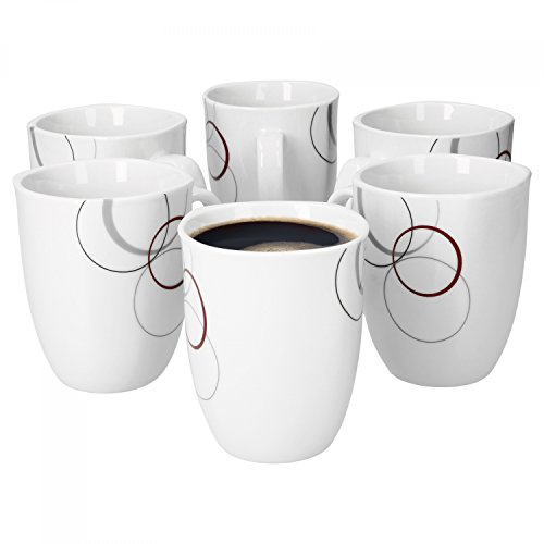 Palazzo lot de 6 tasses à café 33 cl-tasse à café-porcelaine-blanc-avec motif-cercles gris et bordeaux