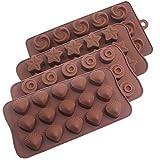 Lot de 4moules en silicone pour chocolat, Yucool anti-adhésif Approuvé par la FDA Candy Moule à gâteau au chocolat Jelly Ice Cube Soap-star, tourbillon, Coquillage, fleur formes