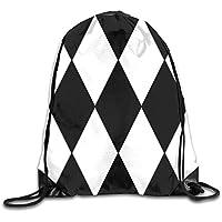 Best design Large black and white harlequin diamond pattern Drawstring Bag Backpack Sackpack Shoulder Bags Gym Bag Lightweight Gym For Men And Women Hiking Swimming Yoga 17x14 inch