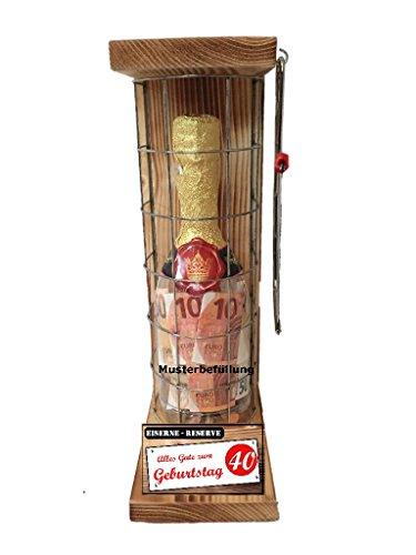 Alles Gute zum 40 Geburtstag - Eiserne Reserve - Geldgeschenk - Sektflasche zum selbst Befüllen mit Geld, Süßigkeiten orginelle Geschenkverpackung! Geld kreativ verschenken!