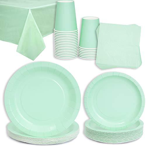 Mint Greet Party-Set für 24 Partys, 24 Teller, 24 Teller, 24 Teller, 24 Becher, 24 Servietten 16,5 cm, 1 Tischdecke