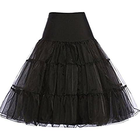 Hosaire 1X Sottogonna battenti Vintage Petticoat Fancy Net Gonna Rockabilly Tutu (nero), Le ragazze e le donne sono la scelta migliore, Gonne,XL