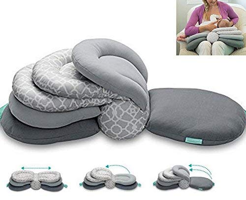 Maternity Nursing Pillows for Breastfeeding,Adjustable Height,Grey