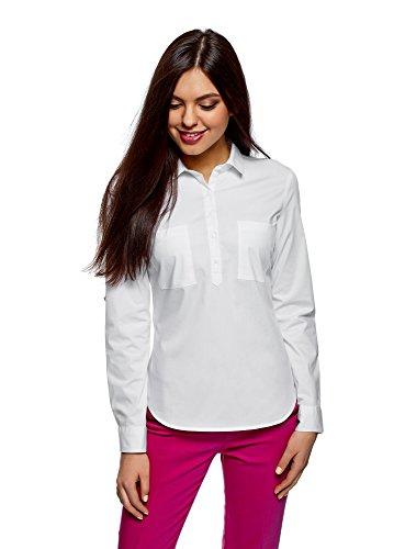 Oodji ultra donna camicia in cotone con taschini, bianco, it 44 / eu 40 / m