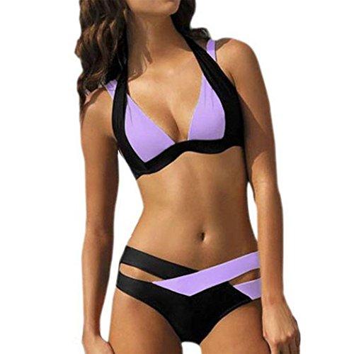 UFACE Bademode Badeanzug Reizvolle Badebekleidungs-Frauen Schwimmen Strand-Abnutzungs-Druck-Verband-Badeanzug (Purple, L)