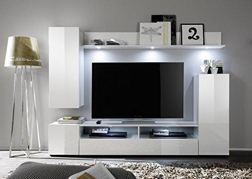 trendteam DS94501 Wohnwand Anbauwand Wohnzimmerschrank weiß Nachbildung und Front in weiß Hochglanz, BxHxT 208 x 165 x 33 cm - 3