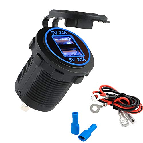 JTENG Presa per Auto Doppio USB Impermeabile 12V / 24V 36W 5V 2.1A 2 Porte Caricabatteria Presa USB, con Indicatore LED per Auto e Moto, Suv, Barca, Ecc.