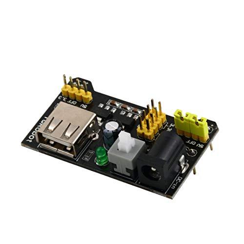 Elviray Modulo di Alimentazione per breadboard 3.3V / 5V Professional per breadboard a saldare 6.5-12 V (DC) o Alimentatore USB