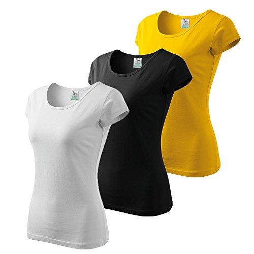 3er Pack Dress-O-Mat Damen T-Shirt Shirt rundhals klassisch Tailliert weiß schwarz gelb