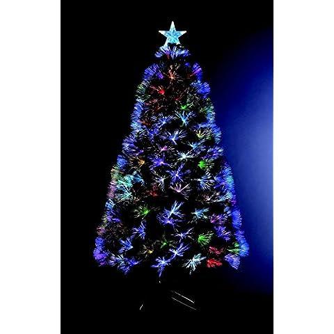 Árbol de Navidad artificial iluminado con fibra óptica + 170 LED Multicolor + 8 Juegos de luces - pie incluído - Altura 150 cm -