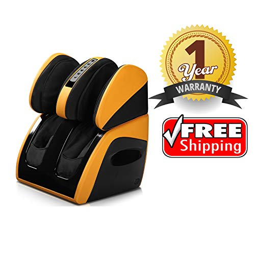 Robotouch Classic Plus Leg, Foot and Calf Shiatsu Relaxing Massager with Sole Rollers (Yellow)