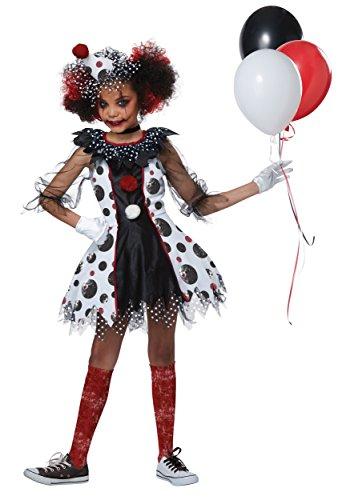 Creepy Clown Girl Child Costume, Medium