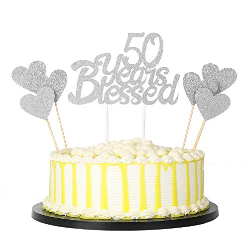 PALASASA 6 Stück Silber Love Stern und Silber einseitig Glitzer 00 Jahre gesegnet Kuchen Topper für Happy 00th Birthday - Hochzeit Jahrestag Party Dekorationen Set von 7 (35) 50th