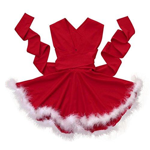Weihnachtsoutfit Mutter Tochter Kleid Hirolan Abendkleider Ärmellos Partykleider Festliche Mädchenkleider Weihnachtskostüm Frau V-Ausschnitt Kleid Cocktailkleider Knielang (Baby Rot, (Cute Und Tochter Kostüme Mutter)