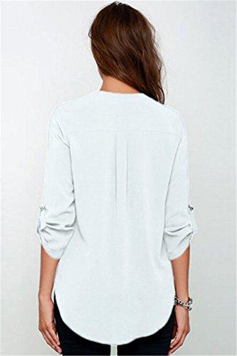 DOKOTOO - Chemisier - Manches Longues - Femme Blanc - Blanc