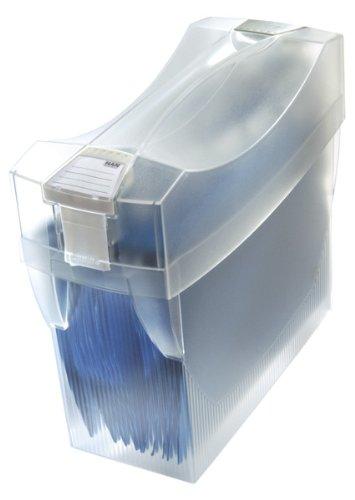 HAN Hängemappenbox SWING-PLUS-COMFORT 1903-63 in Transluzent-Klar – Praktische Ordnungsbox mit Deckel für Mappen und Ordner – Integrierter Stifteköcher für das Bürozubehör
