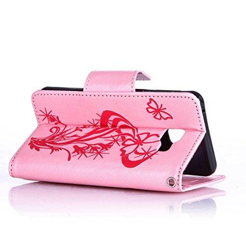 Custodia periPhone 7 2016, custodia a portafoglio iPhone 7, Toyym 3D di lusso brillante con glitter strass a motivo con farfalla e fiore design a libro in similpelle funzione protettiva cover con por Pink Butterfly