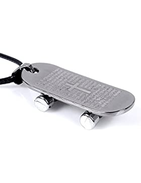 ujewelry Herren Edelstahl Leder Halskette Skateboard Design Anhänger Kette 45,7cm 45cm