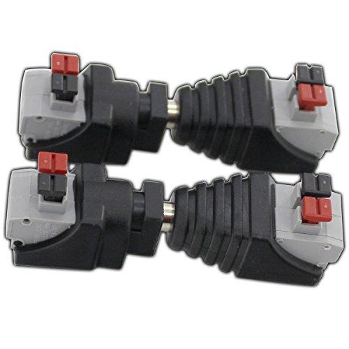 2x Adaptador Hembra Juego 5,5x 2,1mm (2x Macho & 2x hembra) con cierre rápido conector hembra de cable de conexión para tiras LED, rayas, sensores, etc.