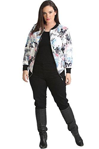 Islander Fashions Womens Schmetterling Floral Gedruckt Bomberjacke Damen Fancy Party Zipper Top X Gro� UK 16-18
