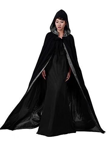 dressvip en velours noir satin Cape à capuche pour Halloween Cape