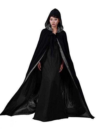 dressvip mittelalter Umhang mit Kapuze fur Herren Damen Kind Kundengrosse, schwarz, (Kleid Kapuzen Kostüm)