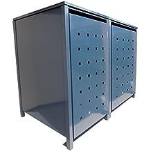 BBT@ | Hochwertige Mülltonnenbox für 2 Tonnen je 240 Liter mit Klappdeckel in Grau (RAL 7016) / Stanzung 2 / Aus stabilem pulver-beschichtetem Metall / Verschiedene Farben + Blech-Stanzungen erhältlich / Mülltonnenverkleidung Müllboxen Müllcontainer