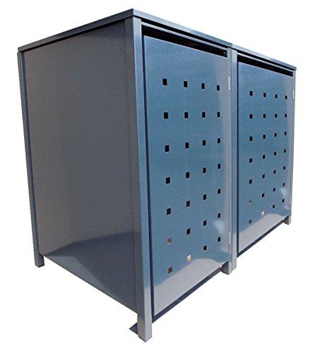 *BBT@ | Hochwertige Mülltonnenbox für 2 Tonnen je 240 Liter mit Klappdeckel in Grau (RAL 7016) / Stanzung 2 / Aus stabilem pulver-beschichtetem Metall / Verschiedene Farben + Blech-Stanzungen erhältlich / Mülltonnenverkleidung Müllboxen Müllcontainer*