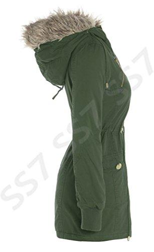 Damen Halb überdimensional KAPUZE Parka Mantel, Größen eu 36-44 tief khaki