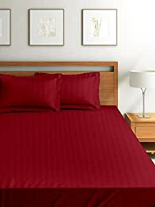 Cloth Fusion Satin Striped Fitted 300TC Cotton Bed Sheet With 2 Pillow Covers- Double, Red