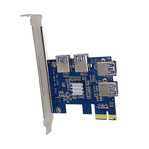 lzn PCIE Riser Karten PCI Erweiterungskarte zu 4 Ports USB 3.0 Konverter Adapter f¨¹r Bitcoin Mining - Pci-express-x1-karte