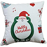 Ndier Navidad Tire patrón de Almohada Cubierta Decorativa de la Lona Caso de la Lona de Santa Claus Funda de Almohada Fundas de Cojines con la Cerradura de la Cremallera Oculta