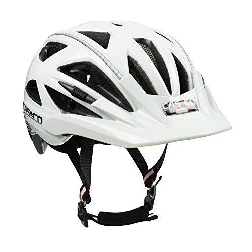 Sitz Fahrrad Jugend (Fahrradhelm Casco Activ 2, weiß-schwarz - Biese silber, Gr. L (58-62 cm))