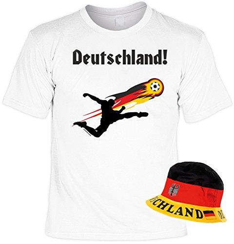 EM SET - T-Shirt mit Hut: Deutschland, Fußballspieler - Fussballmotiv - Für alle Fußballfans Weiß