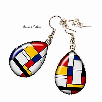 Boucles d'oreilles gouttes Mondrian Cubisme Art abstrait